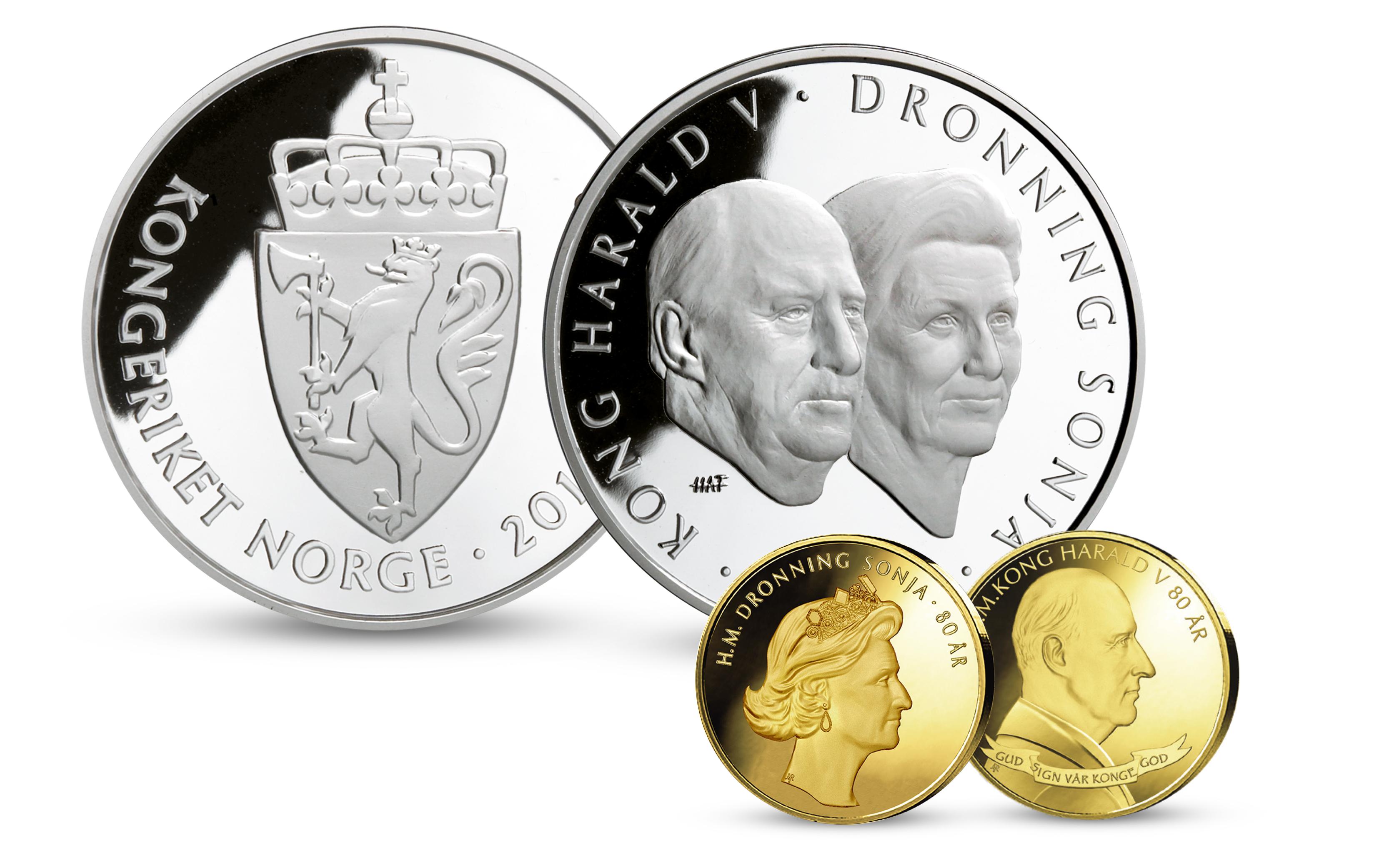 Kong Harald og dronning Sonja minnemynt i sølv og minnemedaljer