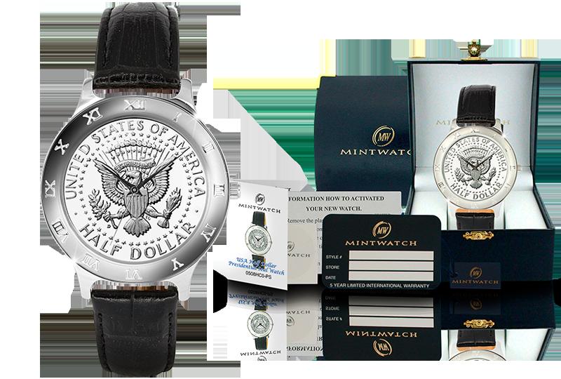 Eksklusiv klokke med ekte mynt