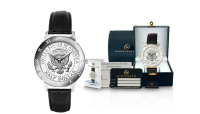 Myntklokken President Seal med ekte halvdollar mynt