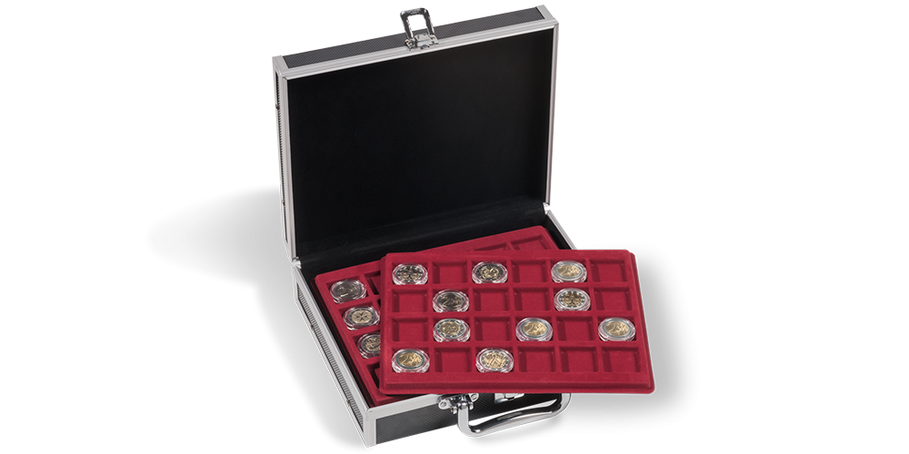 Myntkoffert med plass til 144 mynter