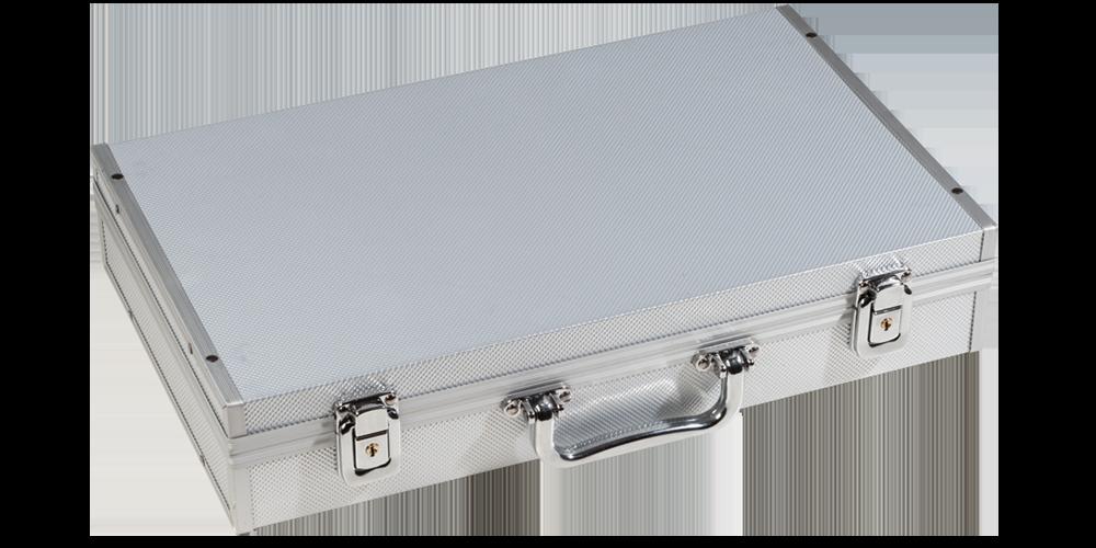 Myntkoffert med aluminium-look