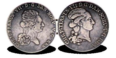 Myntssmykke / Beltespenne 1 spd 1793 NO / 1 sp 1788 DK