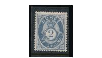 NK 17 aX- 2 skilling blå med liggende vannmerke i frimerkealbum