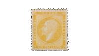 NK 2 – 2 skilling gul Oscar I – Merket med laveste opplag i vår første performerte frimerkeutgave