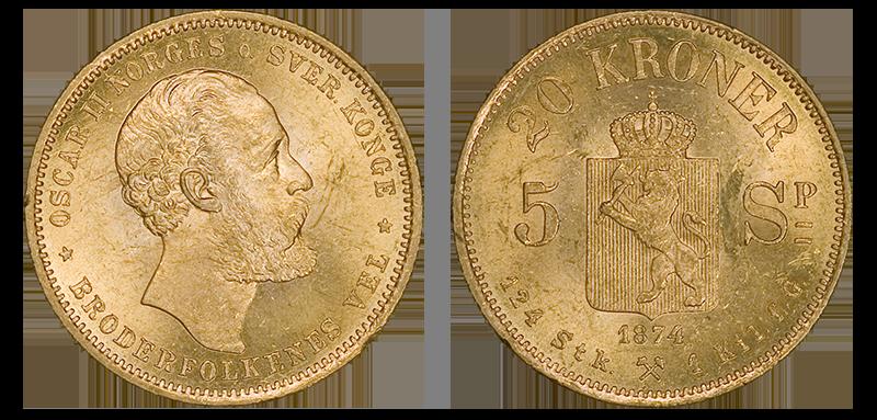 20_Kroner 5 Speciedaler1875 en historisk gullmynt med dobbeltvalør