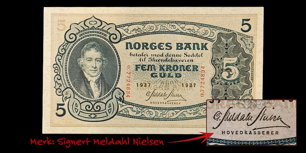 5 kroner 1937 fra andre seddelrekke signert Meldahl Nielsen