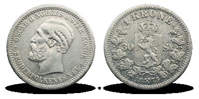 Norge Oscar II 1 Kr/30 Sk 1875 Sirk