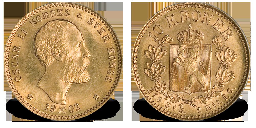 Norge Oscar II 10 kr 1877 gull