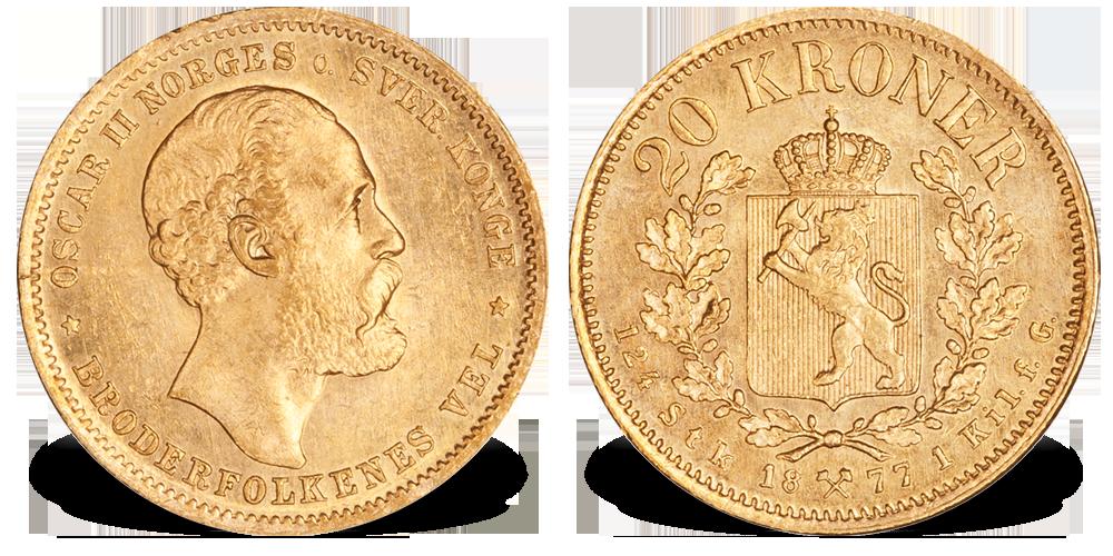 Norges nest sjeldneste 20 krone gullmynt
