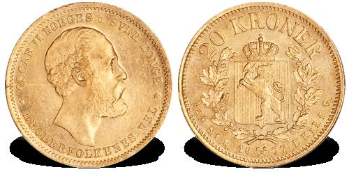 Norge Oscar II 20 kr 1877 gull