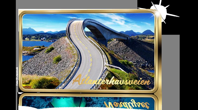 NYHET! Atlanterhavsveien på barre belagt med 99,9% rent gull!