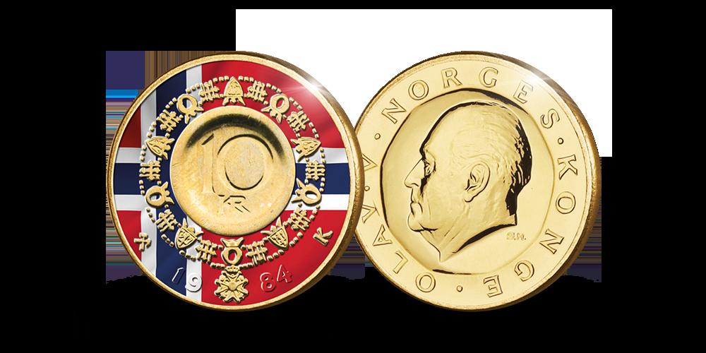 Kong Olav Vs 10-krone med flagget i fullfargepreg