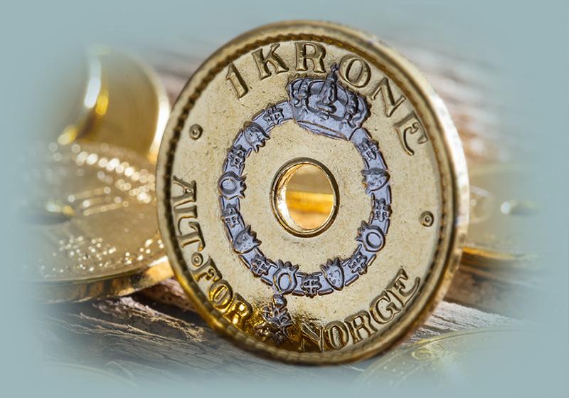 1 krone belagt med gull og platina