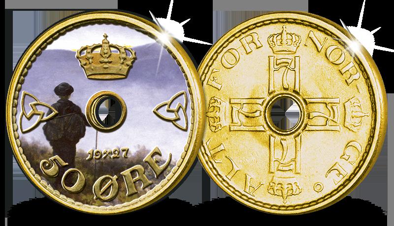 Original 50-øre med 24 karat gull og fargepreg