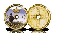 Soria Moria på Kong Haakon VIIs 50 øre med hull
