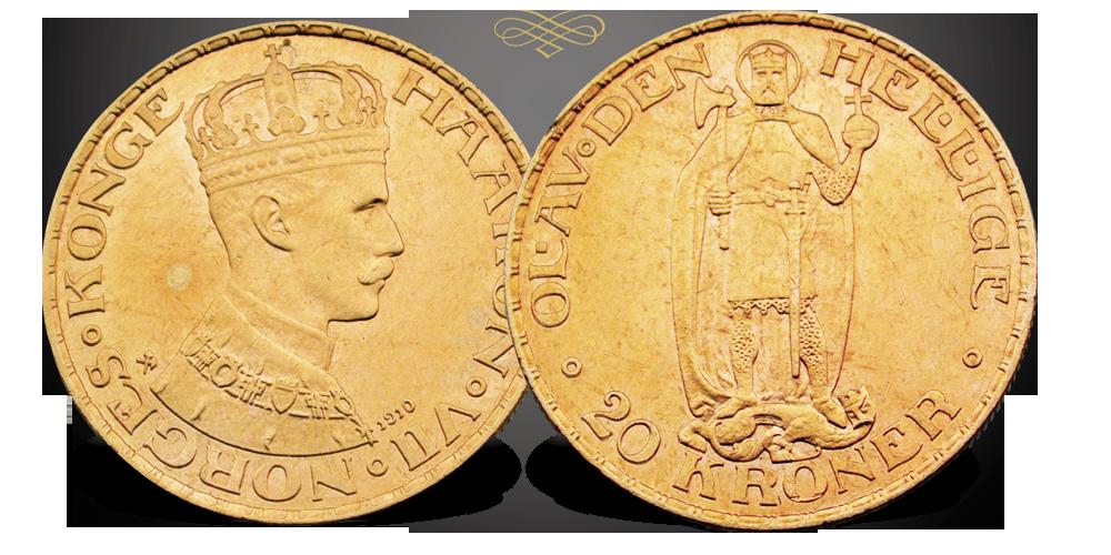 Den første og eneste 20-krone gullmynt fra kong Haakon VII