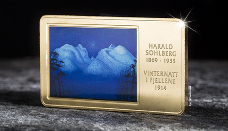 """Det eventyrlige mesterverket """"Vinternatt i fjellene"""" gjengitt på gullbelagt kunstbarre!"""