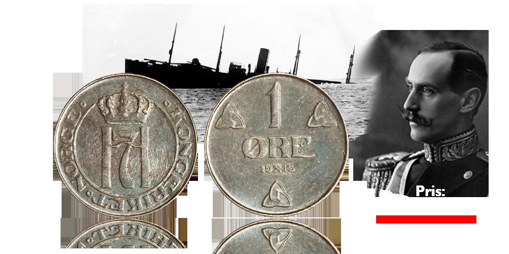 Norsk 1-øre i krisemetallet jern - kun 49 kroner!