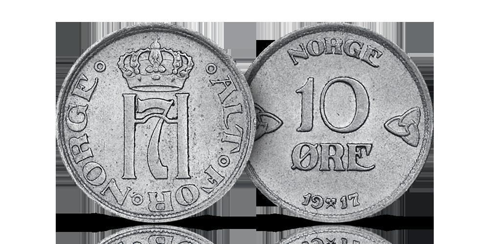 Original norsk 10-øre i sølv fra Haakon VII