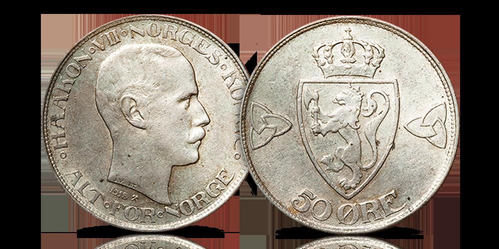Norges nest siste 50-øre i sølv kan bli din!
