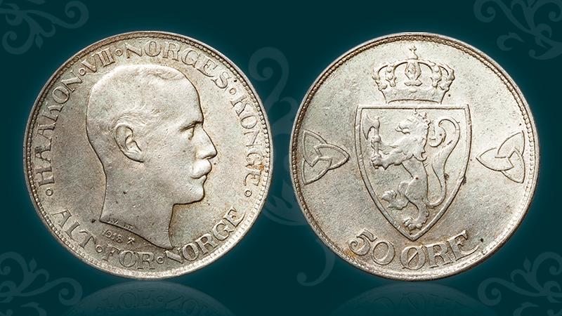 Norges nest siste 50-øre i sølv - kun 95 kroner!