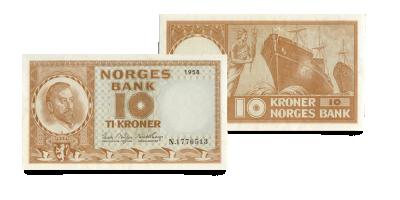 Norges siste 10-kroneseddel med gul farge - kun 99 kroner!