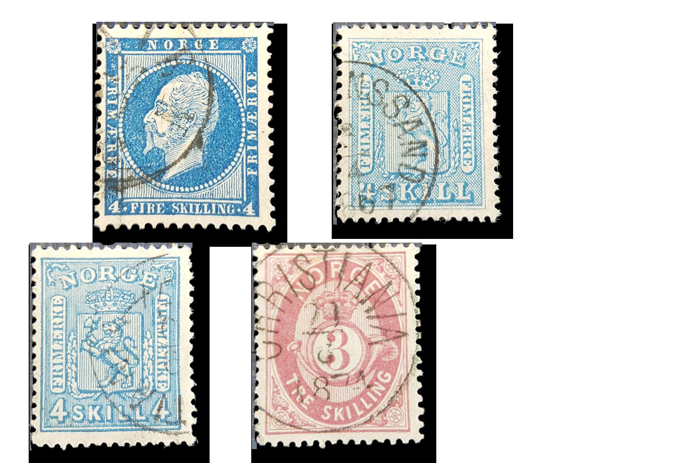 4 skillingsfrimerker fra 1800-tallet - kun 195 kr!