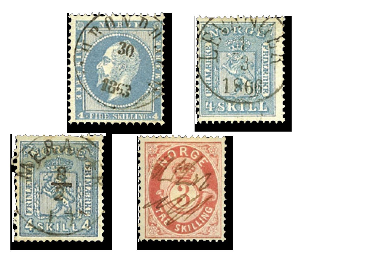 Fire originale skillingsfrimerker fra 1800-tallet for kun 195 kr!