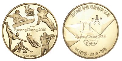 Offisiell OL mynt fra Sør-Korea til OL i PyeongChang 2018