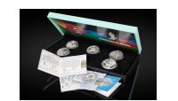 4 offisielle sølvmynter til OL i Beijing og Handover mynten i sølv til Beijing OL i skrin med sertifikat
