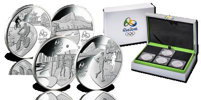 OL i RIO 2016 - Komplettsett med førsteutgavene i sølv