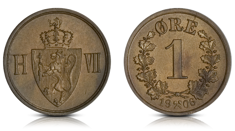 Kong Haakon VIIs aller første 1-øre i bronse