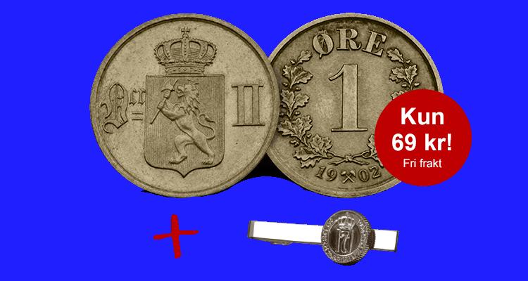 Kong Oscar II aller siste norske 1-øre fra 1902
