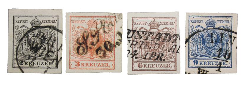 Østerrike frimerker nr 2-5 i stemplet kvalitet