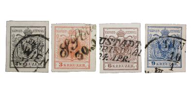 Østerrike frimerke nr 2-5 i stemplet kvalitet