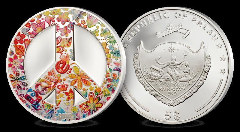 Det verdenskjente Peace-symbolet på sølvmynt
