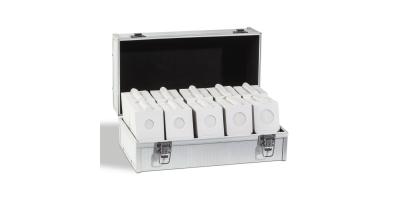 Praktisk koffert til Hartberger myntrammer, hvite myntrammer