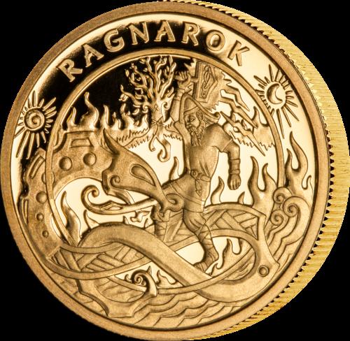 Vikingmynten Raknarok i gull utgitt av Isle og Man