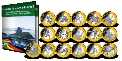 16 olympiske sirkulasjonsmynter utgitt til OL i Rio 2016
