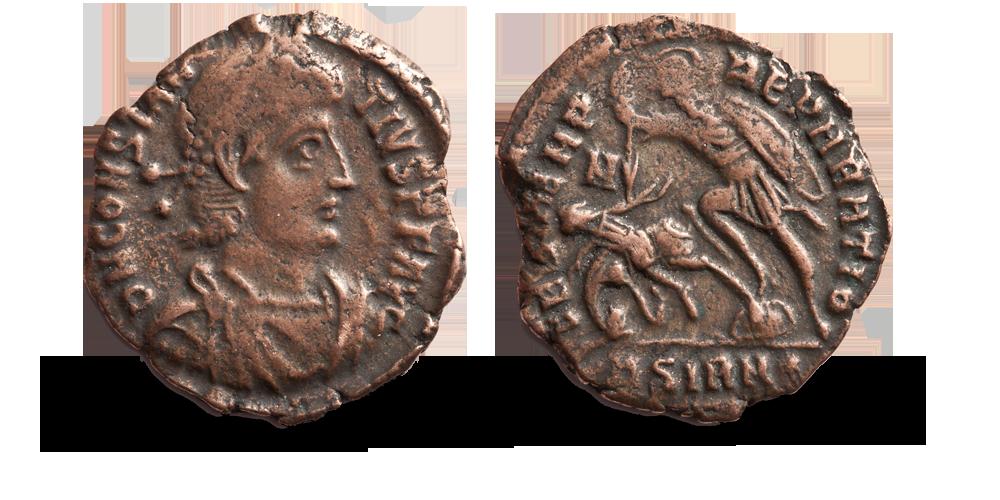 Nesten 1700 år gammel, ekte romersk mynt fra Konstantin den stores sønn, Konstantius II.