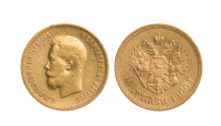 Tsar Nikolajs historiske 10 rubel i gull