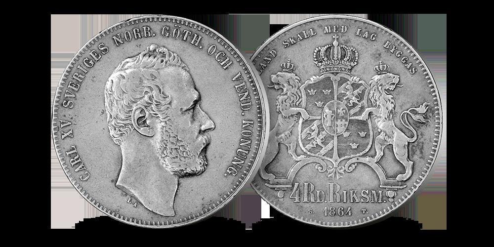 Kong Carl XV aller siste 4 riksdaler i sølv