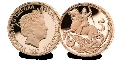 Sovereign 200, 1£ gullmynt 2017; St. George & Dragon av Angela Pistrucci