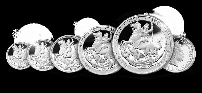 Verdensberømte Sovereign i sølv - 5-myntsett!