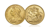 Dronning Victorias siste sovereign utgave med det såkalte