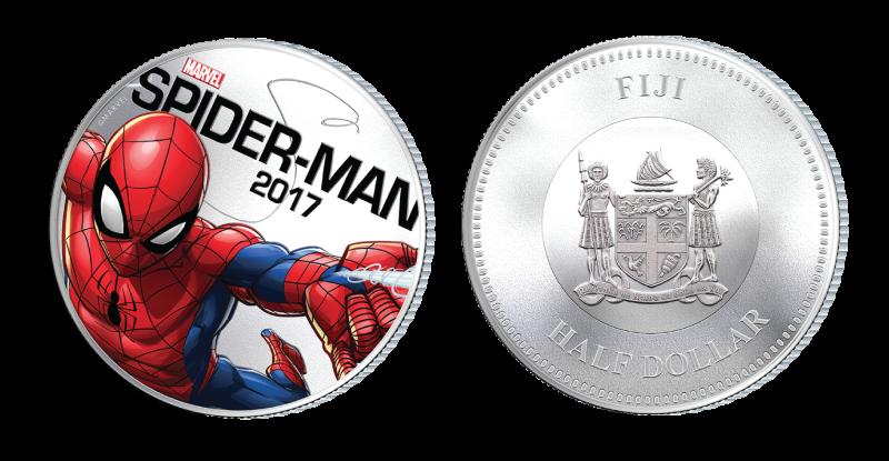 Spiderman på mynt belagt med sølv og med innebygd lyseffekt