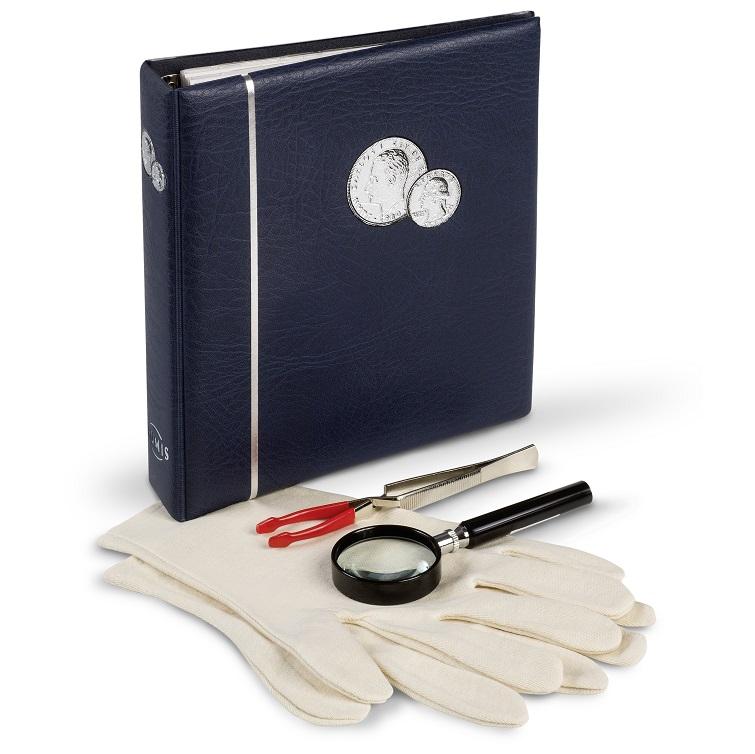 Startpakke for samling - forstørrelsesglass, album m/5 ark, hansker, pinsett