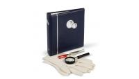 Startsett for nye samlere med forstørrelsesglass, pinsett, hansker, myntalbum med 5 ark