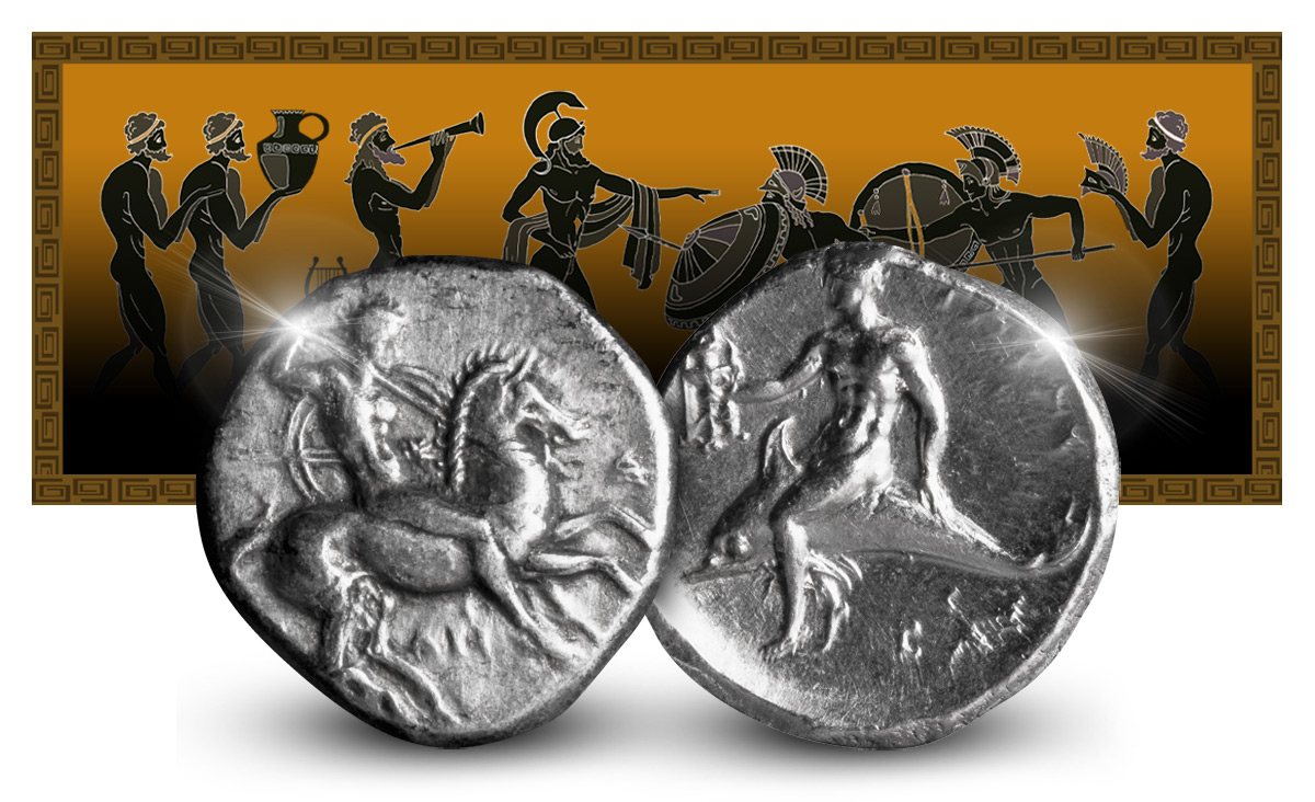Taras didrakme  - Spartas sønner