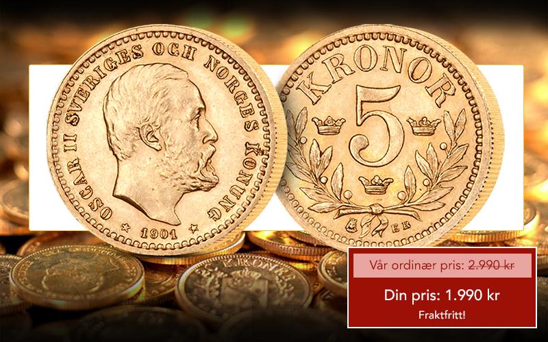 Unionstidens aller siste 5 krone i gull
